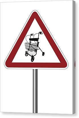 Warning Sign With Walking Frame Symbol Canvas Print by Alfred Pasieka