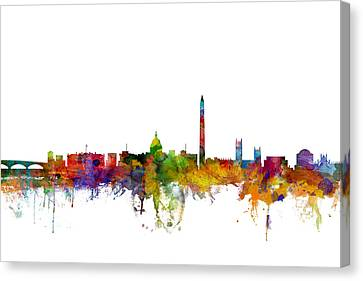 The White House Canvas Print - Washington Dc Skyline by Michael Tompsett