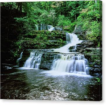 Water Falling From Rocks, Dingmans Canvas Print