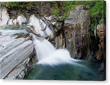 Waterfall, Lavertezzo, Valle Verzasca Canvas Print by Thomas Aichinger - Vwpics