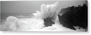 Waves Breaking On The Coast, Shore Canvas Print by Panoramic Images