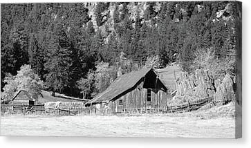 Canvas Print featuring the photograph Weathered Barn by Harold Rau