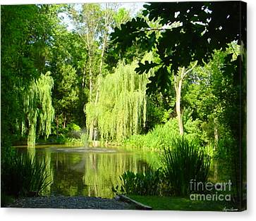 Weeping Willow Pond Canvas Print by Lyric Lucas