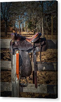 Western Saddle Canvas Print by Doug Long