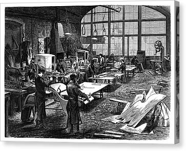 1874 Canvas Print - Wheel Manufacturing by Science Photo Library