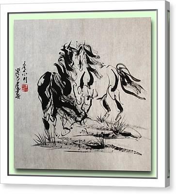 2 Whispering Horses Canvas Print