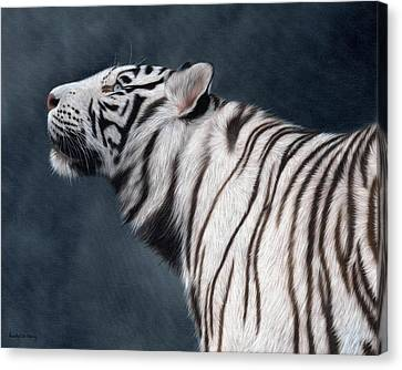 White Tiger Painting Canvas Print by Rachel Stribbling