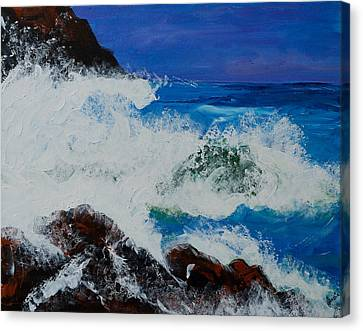 Canvas Print featuring the painting Wild Sea by Judi Goodwin