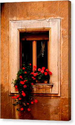 Window And Flowers Rome Italy  Canvas Print by Xavier Cardell