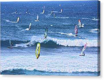 Windsurfers On Maui Canvas Print by Diane Diederich