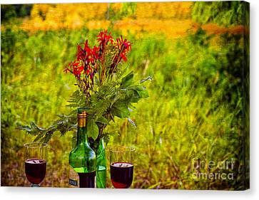 Wine And Flowers Canvas Print by Les Palenik