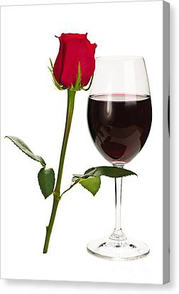 Stemware Canvas Print - Wine With Red Rose by Elena Elisseeva