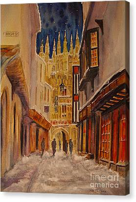 Winter In Canterbury Canvas Print by Beatrice Cloake