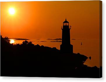 Canvas Print featuring the photograph Winter Island Lighthouse Sunrise by Jemmy Archer