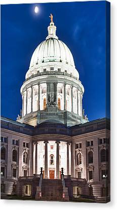 Hdr Canvas Print - Wisconsin State Capitol Building At Night by Sebastian Musial