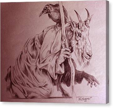 Wise Old Goat Canvas Print by Derrick Higgins