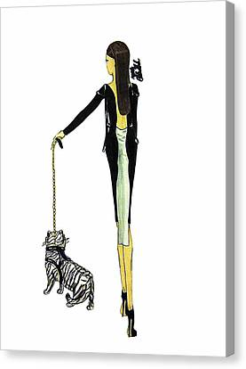 Gold Chain Canvas Print - Woman And Tiger by Zachary Cadwallader