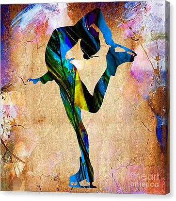 Woman Ice Skater Canvas Print by Marvin Blaine
