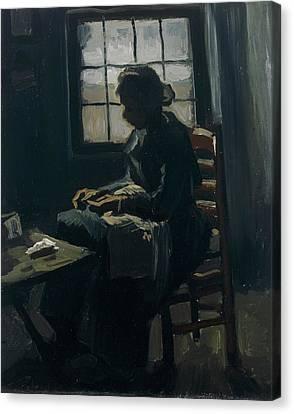 Woman Sewing Canvas Print