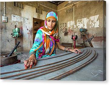 Women Constructing Solar Cookers Canvas Print