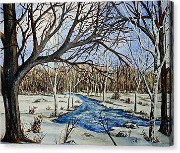 Canvas Print featuring the painting Wonderful Winter by Thomas Kuchenbecker