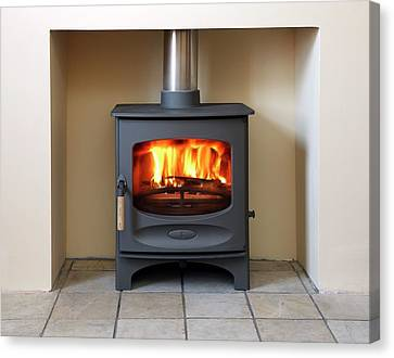 Wood Burning Canvas Print - Wood-burning Stove by Victor De Schwanberg