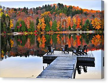 Wooden Dock On Autumn Lake Canvas Print