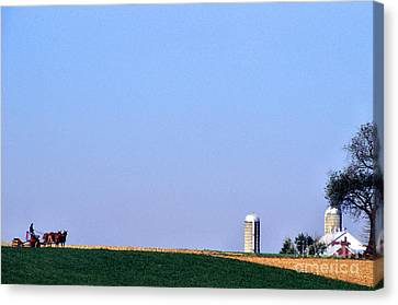 Working The Fields Canvas Print by Thomas R Fletcher