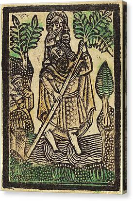 Saint Christopher Canvas Print - Workshop Of Master Of The Aachen Madonna by Quint Lox