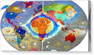 World Map And Barack Obama Stars Canvas Print by Augusta Stylianou