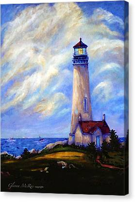 Yaquina Head Lighthouse Oregon Canvas Print by Glenna McRae