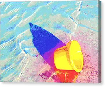 Canvas Print featuring the digital art Yellow Pail by Valerie Reeves
