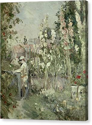 Young Boy In The Hollyhocks Canvas Print