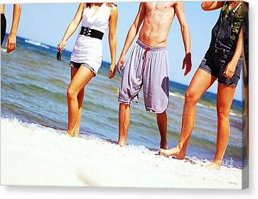 Young Friends On The Summer Beach Canvas Print by Michal Bednarek