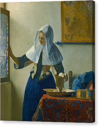 Old Pitcher Canvas Print - Young Woman With A Water Pitcher by Johannes Vermeer