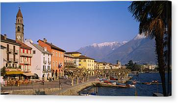 Buildings At The Waterfront, Lake Canvas Print