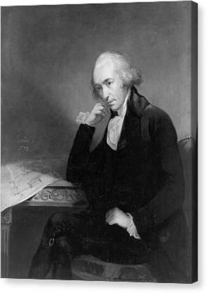 Chin On Hand Canvas Print - James Watt (1736-1819) by Granger