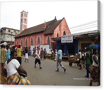 Canvas Print featuring the photograph 200 Year Old Methodist Church-sani Abacha Street  by Mudiama Kammoh