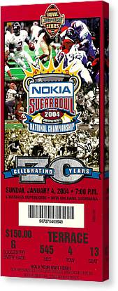 2004 National Championship Ticket - Lsu Vs Oklahoma Canvas Print by David Patterson