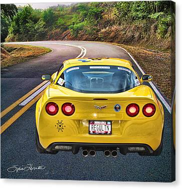 Yellow Cobra Canvas Print - 2006 Corvette by Sylvia Thornton