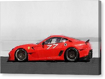 2006 Ferrari 599 Gtb Fiorano Watercolor Canvas Print by Naxart Studio