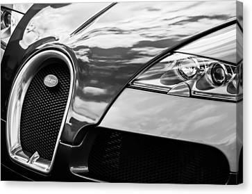 2008 Bugatti Veyron Grille Emblem -0621bw Canvas Print by Jill Reger