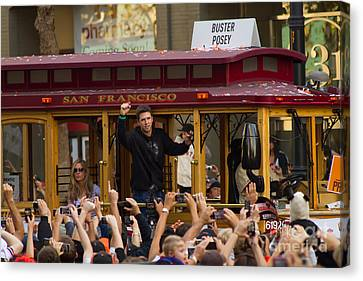 2010 World Series Champions San Francisco Giants Parade Buster Posey 7d3129 Canvas Print by Wingsdomain Art and Photography