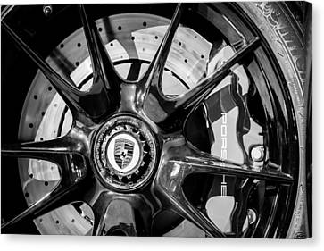 2011 Porsche 997 Gt3 Rs 3.8 Wheel Emblem -0989bw Canvas Print