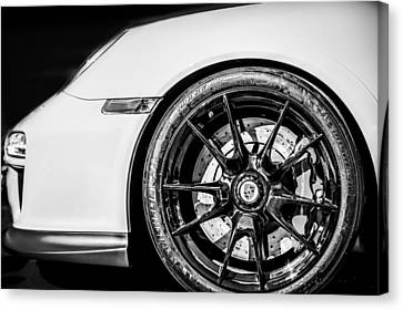2011 Porsche 997 Gt3 Rs 3.8 Wheel Emblem -0998bw Canvas Print