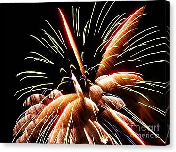 Canvas Print featuring the digital art 2012 Fireworks By Aclay by Angelia Hodges Clay