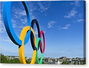 2012 Olympic Rings Over Edinburgh Canvas Print by Ross G Strachan