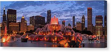 2013 Chicago Blackhawks Skyline Canvas Print by Jeff Lewis
