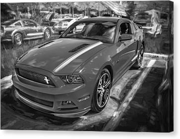 California Hot Rod Canvas Print - 2013 Ford Mustang Gt Cs Painted Bw by Rich Franco