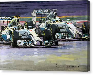 2014 F1 Mercedes Amg Petronas  Lewis Hamilton Vs Nico Rosberg Canvas Print